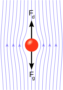 A Spherical object falling in a liquid, experiencing drag force and gravitational force