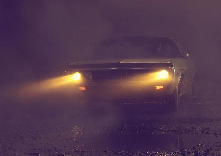 Tyndall Effect observed from Car Headlights