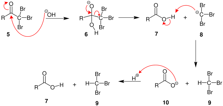 Step 2 and 3 of Haloform Reaction Mechanism