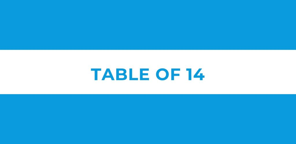Table of 14