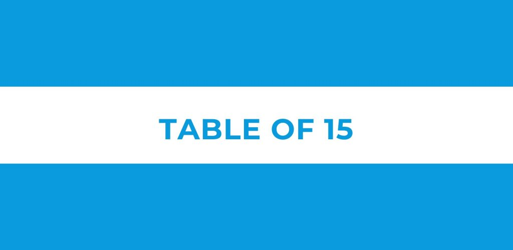 Table of 15