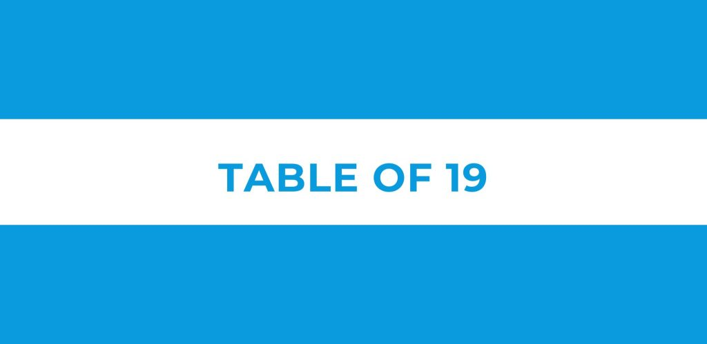 Table of 19