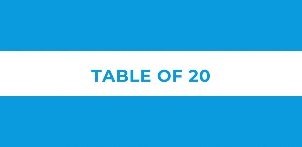 Table of 20