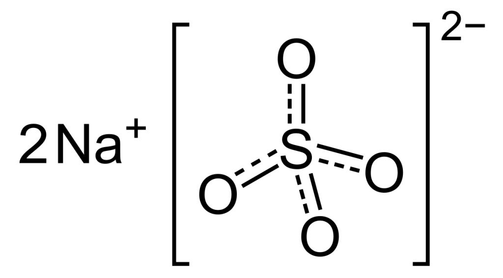 The structure of sodium sulfate depicting its ionic bond