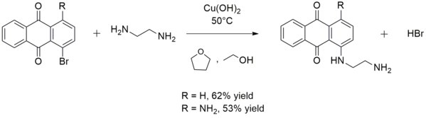 Reaction in which copper hydroxide acts as a catalyst to form an aryl amine