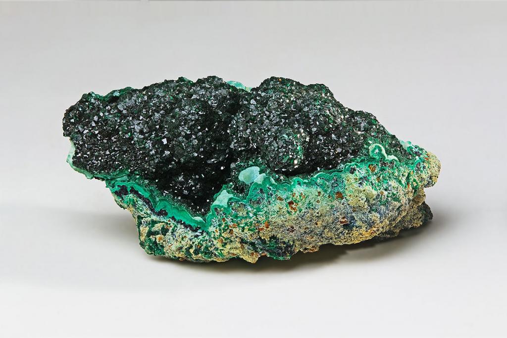 The mineral malachite(copper carbonate hydroxide)