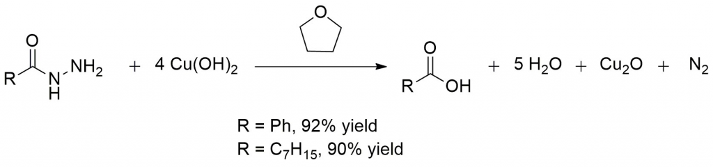 Synthesis of a carboxylic acid from an acidic hydrazide using copper hydroxide