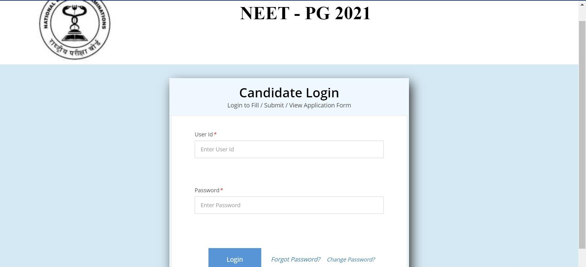 Neet 2021 candidate login